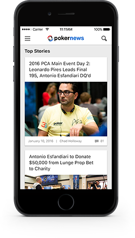 PokerNews Mobile App screen iOS